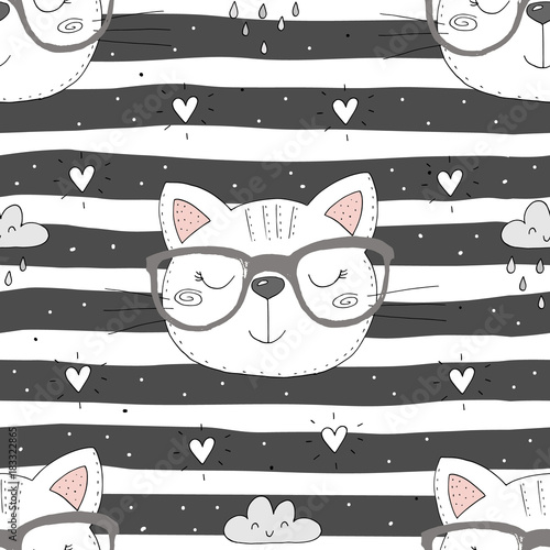 Fotomural Cute cats colorful seamless pattern background