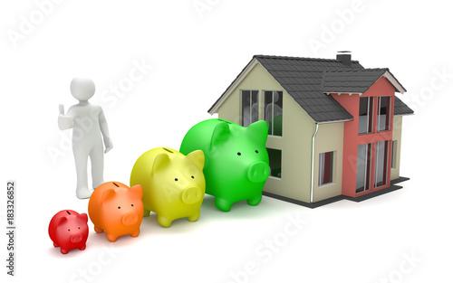 Obraz 3d Männchen mit Sparschweinen als Wachstumschart und Wohngebäude - fototapety do salonu