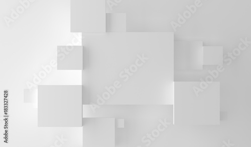 Obrazy w różnych kolorach 3d-rendering-of-abstract-plain-white-boxes-top-empty-space