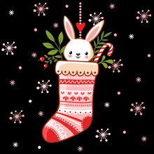 Cute Bunny In A Christmas Sock...