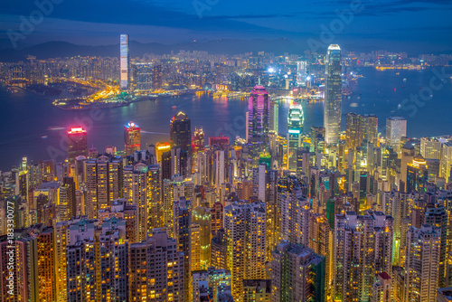 Fototapety, obrazy: night view of hong kong from victoria peak