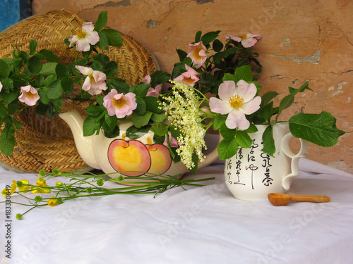 Still-life with flowers. Rosehip with celandine and elder flowers on the background of an old wall with a straw hat.