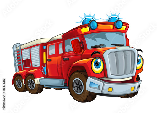 Cartoon happy and funny cartoon fire fireman bus looking and smiling - illustrat Poster Mural XXL
