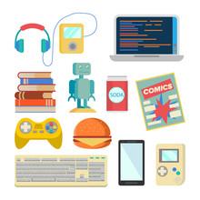 Nerd Items Set Vector. Geek Accessories. Headphones, Player, Laptop, Robot, Toy, Phone, Keyboard, Tetris, Comics, Soda, Burger, Books. Isolated Flat Cartoon Illustration