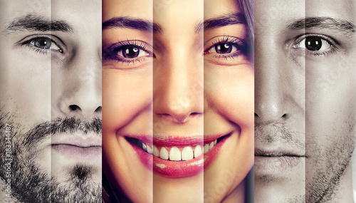 Foto  Collage of a happy beautiful woman in-between two serious men
