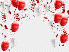 Red White Balloons, Confetti C...