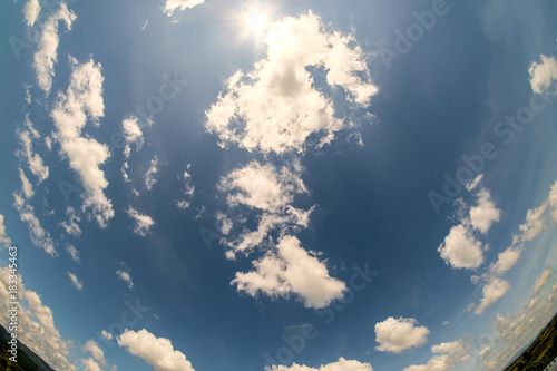 Clouds and blue sky with fisheye lens Canvas Print
