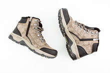 Mountain Hiking Boots On White Background Top Angle View