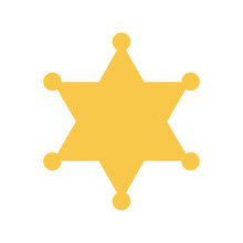Yellow Sheriff Star. Vector Il...