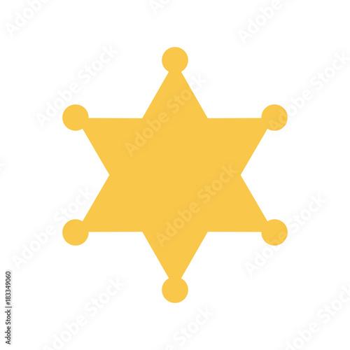 Photo Yellow sheriff star. Vector illustration.