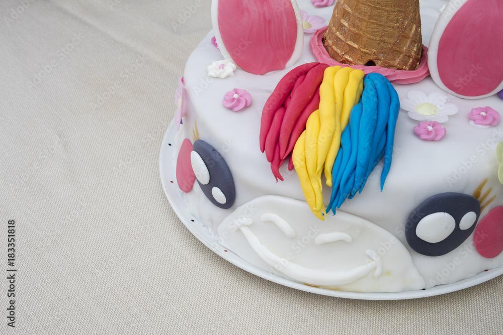 Photo Art Print Homemade Birthday Cake Unicorn On A Table