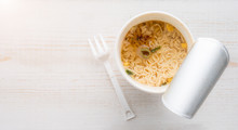 Instant Noodle Cup On Wooden T...