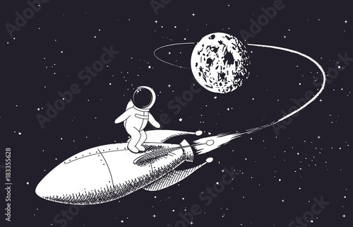 astronaut flies from the Moon on rocket Canvas Print