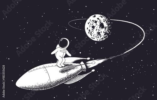 astronauta leci z księżyca na rakiecie. dziecinna ilustracja wektorowa. wzór wydruków