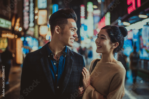 Poster Asian Famous Place Young japanese couple spending time together in Tokyo