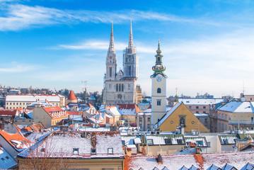 Zima u Zagrebu, pogled na katedralu s Gornjeg grada, Hrvatska