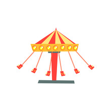 Cartoon Icon Of Swinging Carousel With Seats On Chains In Motion. Children's Attraction. Amusement Park Or Funfair. Flat Vector Design For Banner, Poster, Flyer