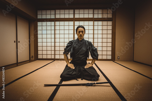 Samurai training in a traditional dojo, in Tokyo Canvas Print