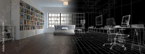 Camera da letto con libreria, illustrazione 3d, rendering - Buy this ...