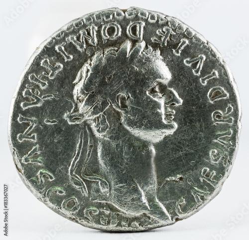 Fototapeta  Ancient Roman silver denarius coin of Emperor Domitian. Obverse.