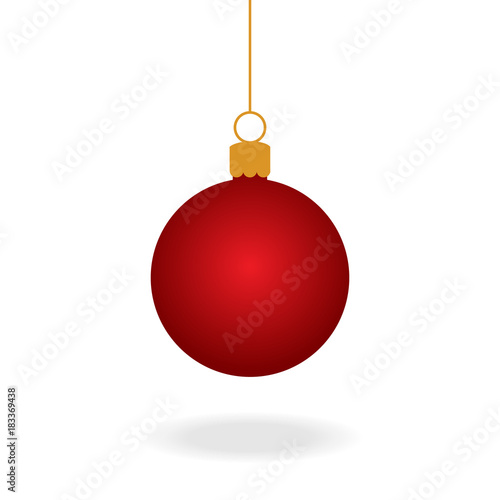 In de dag Bol Realistic red christmas ball ornament, vector graphic illustration. Red xmas ball on string with shadow under.