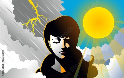 Vászonkép bipolar woman with rain and sun backgrounds