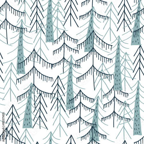 Cotton fabric Woodland seamless pattern. Vector forest print.