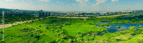 Vacaresti Natural Delta Bucharest City Drone Panorama