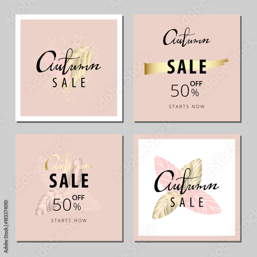 Set of Pastel Universal Gentle cards with hand drawn lettering Autumn and gold elements Canvas Print