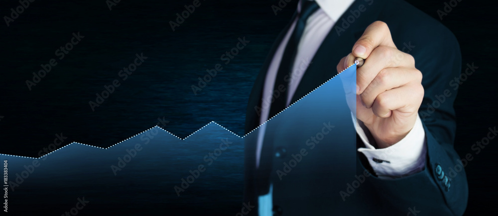 Fototapeta Man with business graph. Business concept.
