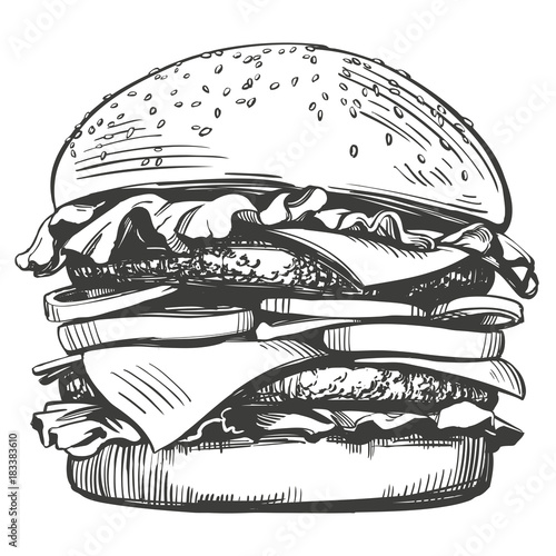 Obraz na płótnie big burger, hamburger hand drawn vector illustration sketch retro style