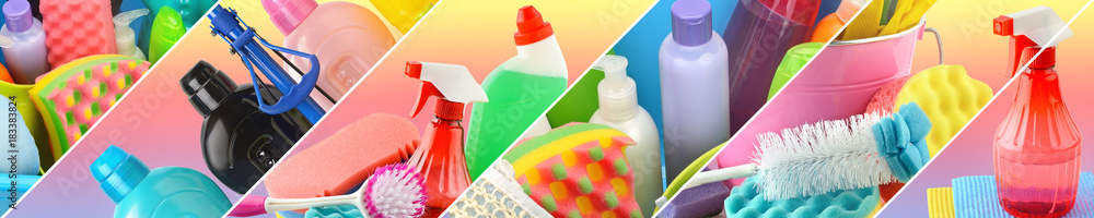 Fototapety, obrazy: Collection of cleaning supplies