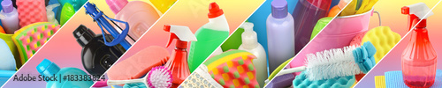 Collection of cleaning supplies Fotobehang