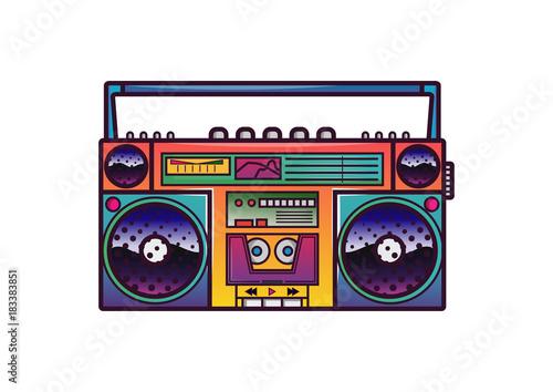 Fotografía Retro boombox in 80's-90's trendy style