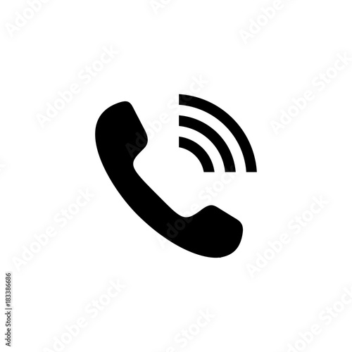 Phone Icon Handset With Waves Telephone Symbol For Your Design
