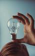 light bulb idea concept. Girl holding light bulb on head.