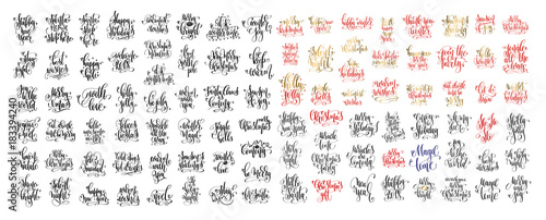 Fotomural mega set of 100 hand lettering inscription to winter holiday