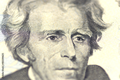 Photo  Andrew Jackson portrait from us 20 dollars.