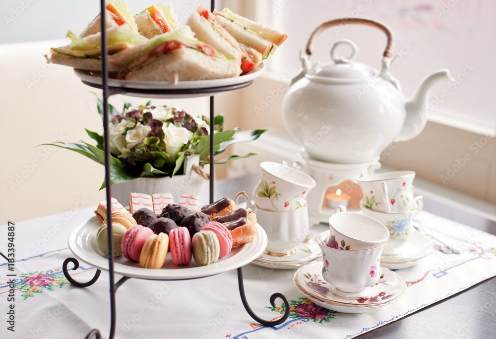 Fototapety, obrazy: traditional English tea, high tea