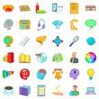 Network marketing icons set, cartoon style