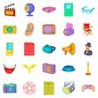 Machinery for cinema icons set, cartoon style