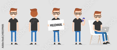 Millennial character in various poses: front and back view, holding a sign, checking the phone, working on a laptop Wallpaper Mural