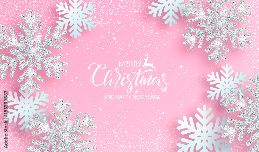 Christmas background with shiny silver snowflakes on pink background. Vector illustration.