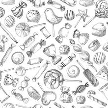 Hand Drawn A Seamless Pattern ...