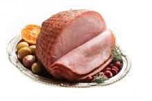 Holiday Ham Isolated On White,...