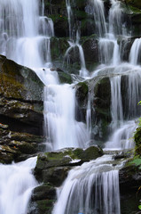 Panel Szklany Podświetlane Czarno-biały Waterfall Shipot (Shipit) - one of the most beautiful and the most full-flowing waterfalls of Transcarpathia