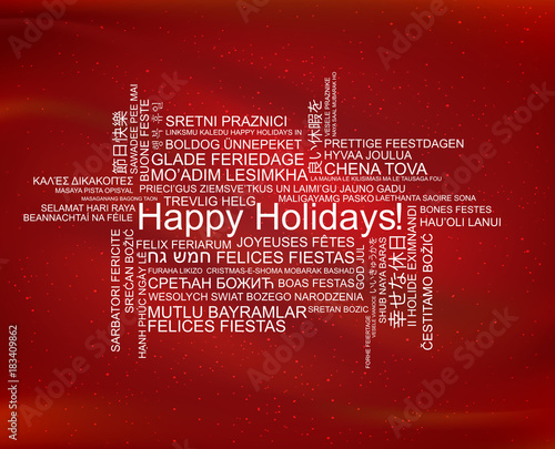Happy Holidays in different languages, celebration word tag cloud greeting card, vector art Wall mural
