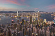 Victoria harbor of Hong Kong City at dusk