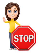 Girl Holding A Stop Sign On A ...