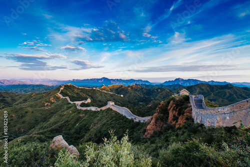 Poster Chinese Muur Beijing, China - AUG 12, 2014: Sunrise at Jinshanling Great Wall of China